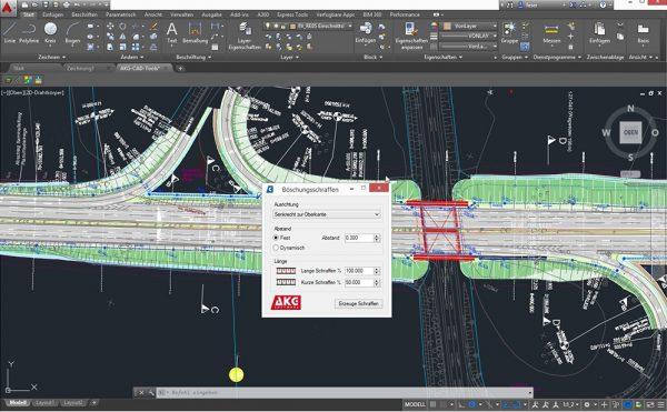 AKG CAD TOOLS für AutoCAD-Systeme und BricsCAD | Böschungsschraffen